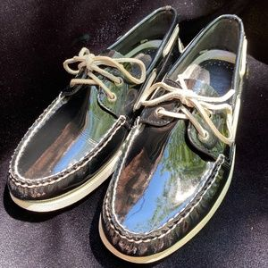 Men's Black Patent Leather Sperry Top Siders 11M